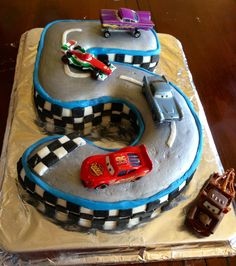 Cars Number Birthday Cake