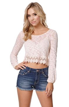 """The women'sCrochet Trim Zip Back Top by LA Hearts for PacSun and PacSun.com offers a cropped cut and long sleeves. The top has a back zipper and semi-sheer fabric. Pair this with our high waisted skirts or denim!18"""" length21"""" sleeve lengthMeasured from a size smallModel is wearing a smallHer measurements: Height: 5'8"""" Bust: 34"""" Waist: 23"""" Hips: 34""""65% polyester, 35% cottonHand wash onlyImported"""