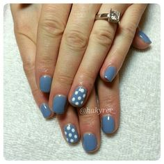 Mani-Q 'Periwinkle' Gel Polish Manicure with Polka Dots and a beautiful tension set Canadian Ekati diamond engagement ring ♥ Follow me on Instagram @hakyree_
