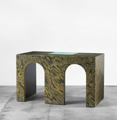 ETTORE SOTTSASS    Litta desk    Zabro  Italy, c. 1986  plywood, suede, lacquered wood, brass  51.5 w x 28 d x 30.25 h inches