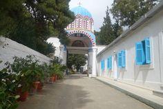 """Eingang in das Frauenkloster """"Einführung Mariens in den Tempel"""" südöstlich von Athen ( Griechenland)"""