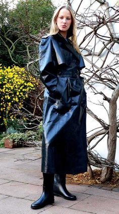 Navy rubberlined satin mac