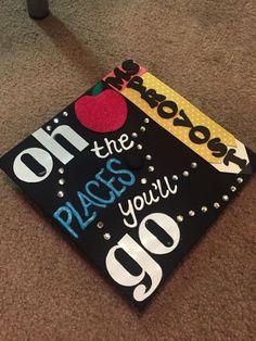 Graduation Hat Decoration Ideas New Dr Suess Teacher Graduation Cap Gradcap Teacher Drsuess