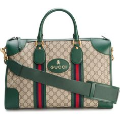 Gucci GG Supreme small duffel bag (6.290 BRL) ❤ liked on Polyvore featuring men's fashion, men's bags, brown, mens leather duffel bag, mens leather bags, mens leather duffle bag, mens duffel bags and gucci mens bag