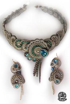 Necklace & earrings in Gray&Blue