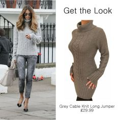 Get the Look!  Who wouldn't want to look as good as Elle McPherson, even when she's on the school run she still looks great. #womensfashion http://www.justblue.com/product/6086-Grey-Cable-Knit-Long-Jumper.php