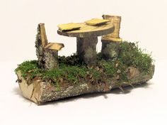 Woodland Fairy House Furniture Table and Chairs by BetweenTheWeeds,