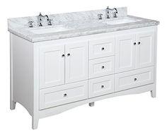 "Abbey 60"" Double Bathroom Vanity (Carrara/White) Kitchen Bath Collection http://smile.amazon.com/dp/B00Y1C2M0O/ref=cm_sw_r_pi_dp_RiQbxb0ZEDXBN"