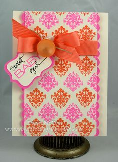 from Dawn McVey- love the multi-colored Damask background stamping