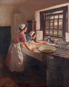 Maids with Pigeons by Frederick William Elwell (English painter, 1870-1958).