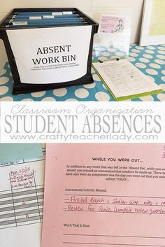 Classroom Organization: Managing Student Absences. Great tips from a high school teacher on how to keep track of student absences and the work missed!