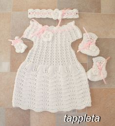Knitting Baptism Dress babygirl booties headband white by tappleta