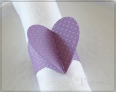 Purple Heart, Napkin Rings, Party Decorations, Valentine's Day, Wedding Decor, Romantic Table Decor Purple Paper Napkin Rings Set of 4 HTD03