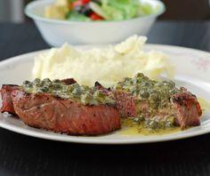 Steaks with Caper-Mustard Vinaigrette
