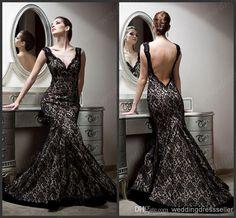 Cheap Elegant Evening Dress - Discount Vintage Deep V Neck Mermaid Lace Floor Length Online with $179