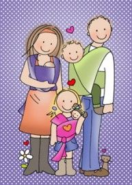 This cute babywearing family print is adorable!