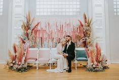 Retro meets boho Dreamland wedding. Pastel color backdrop with couple. Modern eclectic wedding inspiration. Lilac Wedding, Floral Wedding, Eclectic Wedding, Sustainable Wedding, Wedding Ceremony Backdrop, Groom Outfit, Wedding Show, Wedding Pinterest, Real Couples