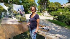 Mercè Humedas pintant la Torre Ponsa en el marc del Pleinair Festival.