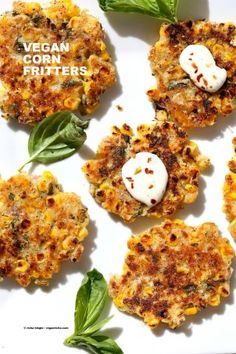 Basil Jalapeno Corn Fritters. Easy Gluten-free Vegan Corn Fritters with jalapeno, basil and black pepper. Serve with ketchup, vegan ranch or chutneys of choice. Soy-free Recipe