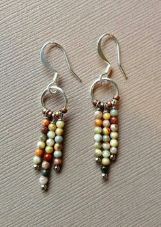 Ocean Jasper and Silver Small Dangle Earrings-inspiration Wire Jewelry, Boho Jewelry, Jewelry Crafts, Beaded Jewelry, Jewelery, Jewelry Design, Jewelry Ideas, Raw Stone Jewelry, Fashion Jewelry