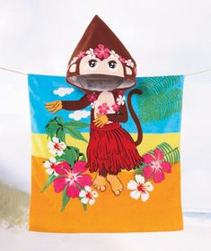 Kids' Hooded Beach Towel is a fun cover-up for use at the beach or pool. It features a kid-friendly front-to-back character design. An attached hood continues t