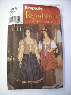 Renaissance Costume Collection Noble Woman Peasant Simplicity 8715 Sz 4-8 Uncut #Simplicity