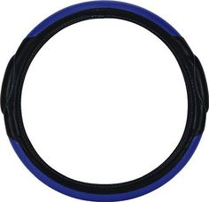 """Custom & Unique {Universal 14.5 to 15.5"""" Inch Fit} Smooth Grip """"Fitted"""" Steering Wheel Protector Cover Made of Leather with Comfort Bubble Handle Design {Charger Black and Blue Colored}"""