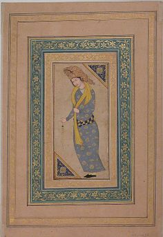 Portrait of a Man Date: early 17th century Geography: Iran Medium: Ink, watercolor, and gold on paper Dimensions: H. 2 3/4 in. (7 cm) W. 5 13/16 in. (14.8 cm) Metropolitan Museum of Art 45.174.14
