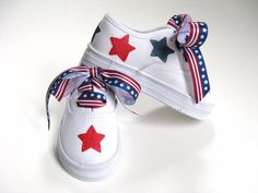 Girls Patriotic Shoes 4th of July Painted by boygirlboygirldesign, $25.00