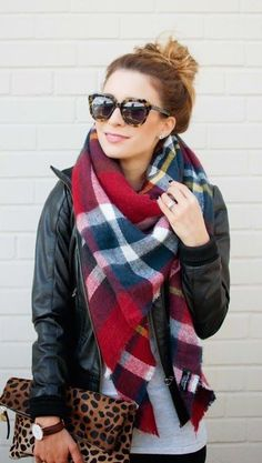 #winter #fashion - Red/black/white plaid blanket scarf with a black leather jacket, grey top, skinny jeans, leopard clutch, brown leather watch band