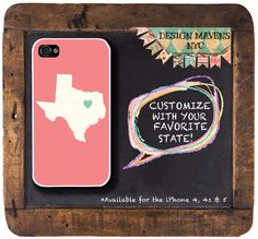Personalized iPhone Case, State Love TEXAS Plastic iPhone Case, Fits iPhone 4, iPhone 4s & iPhone 5, Phone Cover, Phone Case