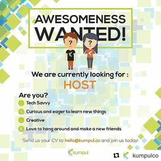 From @kumpulco (@get_repost)  Looking for a place where you can develop yourself more and connect to more people?  Join us and be the part of Kumpul Crews!  if you are  - Indonesian - Able to speak English on conversational level - Creative - Tech savvy - Curious and eager to learn new things - Love to make new friends and hanging around with new people - Have your own driving license (C/A) and personal transportation device  send us your CV to:  hello@kumpul.co   join us now and be the part…
