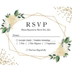 Gold Frame Green Ivory Floral Wedding RSVP Reply Card | Zazzle.com