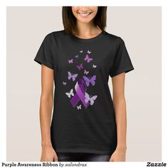 Shop Purple Awareness Ribbon T-Shirt created by xalondrax. Black And White Flowers, Black White, Pancreatic Cancer Awareness, Ribbon Shirt, Awareness Ribbons, Tee Design, Shirt Style, Shirt Designs, Womens Fashion
