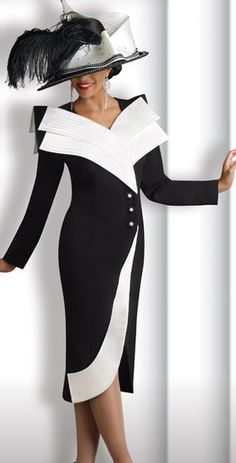 Donna Vinci 11139 Womens Black and Off-White Church Suit at frenchnovelty.com