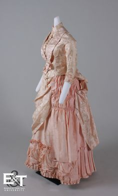 Two Piece, Silk Brocade and Taffeta Reception Gown, 1875-1880