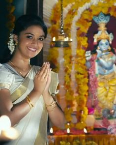 Kirthi Suresh, Bhagavata Purana, Blue Glass Vase, Indian Natural Beauty, Kerala Saree, Film Images, Wedding Girl, India Art, Indian Art Paintings