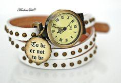 Skórzany zegarek  handmade To be or not to be ♥ #Ribell #MadameLili >> Wybierz Twój na: https://www.ribell.pl/zegarki-recznie-robione-handmade