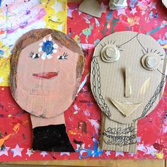 Kids make cardboard faces inspired by the new book Art Workshop for Children