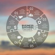 Circle puzzle infographic. Template for cycle diagram, graph, presentation and round chart. Business concept with 7 options, parts, steps or processes. Vector blur background. Easy editable color scheme. photo