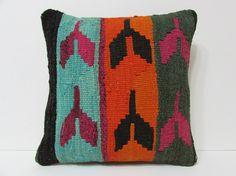 HAND WOVEN bohemian cushion orange tribal cushion green knit pillow cover floor pillow sham turkish fabric cushion kilim pillow cover 19518
