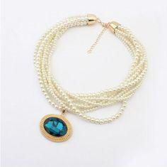 moda collar cadena con perlas completo collar grueso-Collares