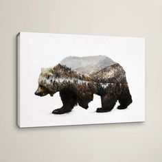 Tangletown Fine Art 'The Kodiak Brown Bear' Graphic Art Print on Wrapped Canvas Size: Wood Wall Art, Framed Wall Art, Framed Art Prints, Canvas Wall Art, Canvas Prints, Wall Mural, Bear Graphic, Graphic Art, Thing 1