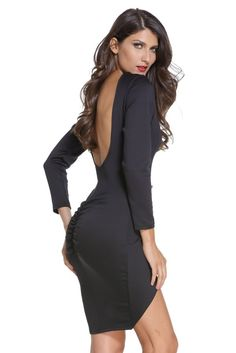 We are amazing in this dress thanks to its sexy design, including v-neck, backless and bodycon. Besides, this piece is with long sleeves and irregular hem and button embellished. Black Bodycon Dress, Dress Black, Fashion Company, Backless, Cold Shoulder Dress, Long Sleeve, Sexy, Sleeves, How To Wear