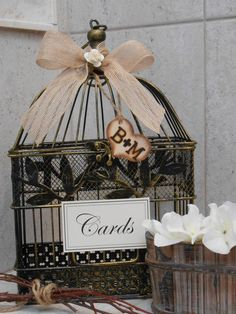 Rustic Bird Cage Wedding Card Holder / Wedding by TheLaceMoon  $58.50