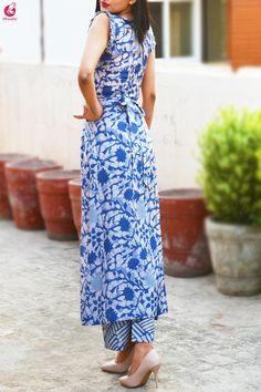 Buy Multicolored Printed Satin Georgette Kurti Set Online in India Kimono Fashion, Fashion Pants, Fashion Dresses, Women's Fashion, Fashion Design, Indian Fashion Trends, Kurti Patterns, Printed Kurti, Kurti Designs Party Wear