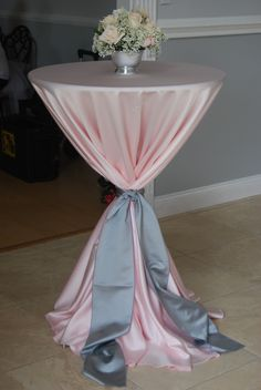 Pink and grey cocktail table by Save the Date Wedding & Event Design, Bluegrass Chic Wedding & Event Florals, Kirby Rentals, A Chair Affair