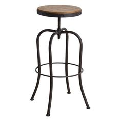High swivel stool in metal and wood - stool Bar Pas Cher, Wood Stool, Metal Stool, Table Haute, High Stool, Wood Sizes, Bar Stools, Furniture, Aubry