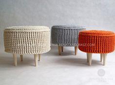 PROMOTION Crochet pouf, crochet footstool, round pouf, knitted pouf, knitted footstool, ottoman, footstool, table model 009. 45cm/17,7inch