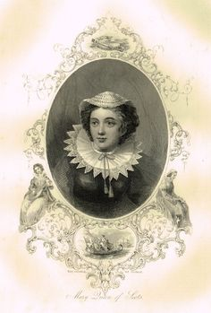 "Elaborate Scrollwork Royal Portrait - ""MARY QUEEN OF SCOTS"" - Steel Engraving - c1840"